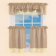 Burlap Lace Curtain Valance and Tiers - 43412