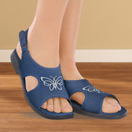 Butterfly Canvas Open Toe Stretch Sandals