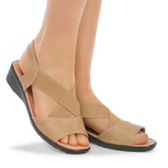 Padded Insole Wedge Heel Stretch Sandals - 43426