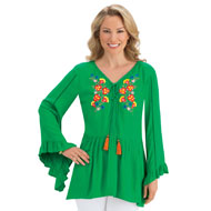 Bell Sleeve Floral Embroidered Tassel Tunic Top - 43431