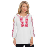 Cold Shoulder Embroidered Scoop Neck Top - 43432
