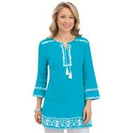 Embroidered Border Keyhole Tassel Tunic Top - 43433