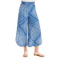Printed Tulip Hem Pull-On Elastic Waist Pants - 43445
