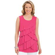 Tiered Ruffle Front Sleeveless Tank Top - 43448