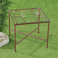 Glass Top Metal Garden Patio Accent Table - 43455