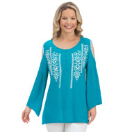 Embroidered Cold Shoulder Bell Sleeve Top - 43471