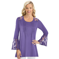 Lace Yoke & Bell Sleeve Scoop Neck Top - 43472