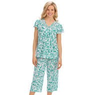 Short Sleeve Floral Lace Trim Capri Pajamas - 43476