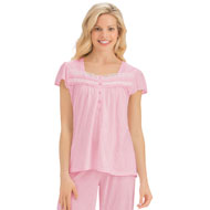 Short Sleeve Pin Dot Capri Pajamas - 43477
