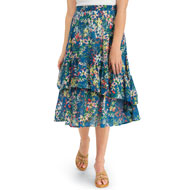 Tiered Ruffle Floral Print Woven Midi Skirt - 43480