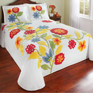 Spring Flowers Cotton Chenille Bedspread - 43496