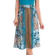 Scroll Medallion Print Elastic Waist Full Skirt