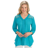 Lace Yoke Trim Woven Cotton 3/4 Sleeve Tunic Top - 43517