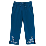 Paisley Embroidered Woven Capri Pants