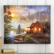 Woodland Cabin Lighted Canvas Wall Art