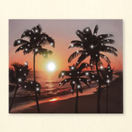 LED Canvas Beach Scene Wall Art with Palm Trees - 43542