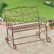 Outdoor Metal Double Rocking Chair Garden Bench - 43568