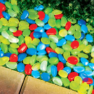 Multicolor Glow In Dark Garden Pebbles Decor - 43596