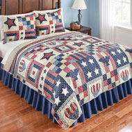 Patriotic Country Americana Bedding Quilt - 43617