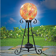 Solar Mosaic Glass Gazing Ball with Metal Stand - 43645