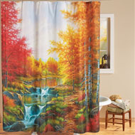 Autumn Glory Scenic Trees and River Shower Curtain - 43665