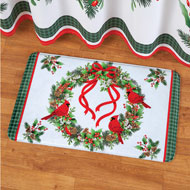 Festive Winter Cardinals and Wreath Bath Mat - 43671