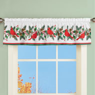 Winter Cardinals and Holly Window Valance Curtain