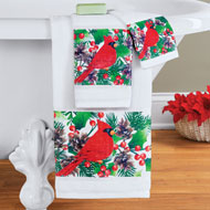 Festive Winter Cardinals and Holly Towel Set, 3 Pc - 43676