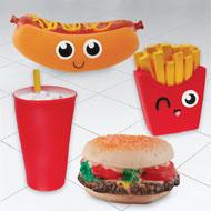 Fast Food Squeaky Dog Toys Set of 4