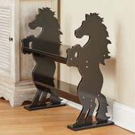 Wooden Horses Sitting Bench with Shelf Cabin Décor - 43704