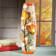 Fall Leaves Decorative Lamp with Cracked Glass - 43713