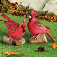 Hand-Painted Resting Cardinal on Log Garden Art - 43726
