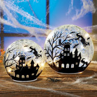 Lit Glass Ball Halloween Witches Silhouette - 43760