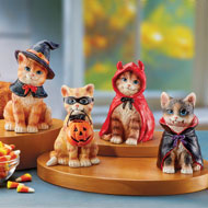 Adorable Halloween Cat Statues Indoor Set, 4 pc - 43765