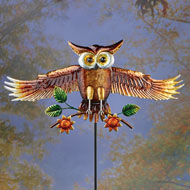 Animated Flying Owl Decorative Garden Stake - 43768