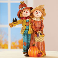 Festive Scarecrow Couple Indoor Fall Décor
