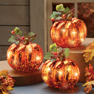 Lighted Harvest Pumpkin Set Fall Home Decor, 3 Pc - 43786