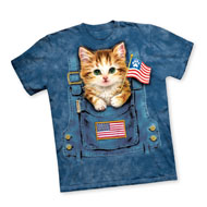 Patriotic Kitty with Paw Print Flag T-Shirt - 43792