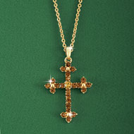 Elegant Amber and Crystal Cross Necklace - 43811