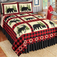 Bear, Deer, Moose Rustic Cabin Fleece Coverlet - 43816