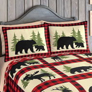 Rustic Cabin Bear Fleece Pillow Sham Set, 2 pc