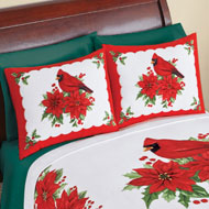 Cardinal Fleece Pillow Shams Set of 2 Winter Bedding - 43823