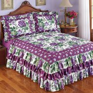 Roseland Ruffled Bedspread with Purple Roses