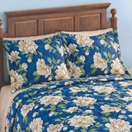 Marisol Navy Blue & Ivory Floral Quilted Pillow Sham - 43834