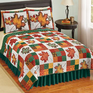Fall Leaves Reversible Patchwork Quilt - 43835