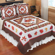 Fall Bedroom Décor Leaves Patchwork Quilt - 43849