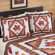 Fall Bedroom Décor Leaves Patchwork Pillow Sham - 43852