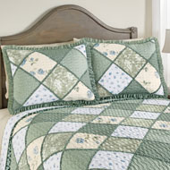 Maya Patchwork Pillow Sham with Ruffled Edge - 43858