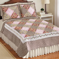 Clara Diamond Patchwork Reversible Floral Quilt - 43868
