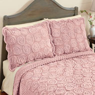 Elegant Faux Fur Rose Pillow Sham - 43880